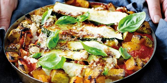 Lasagne van pompoen en courgette met ricotta >