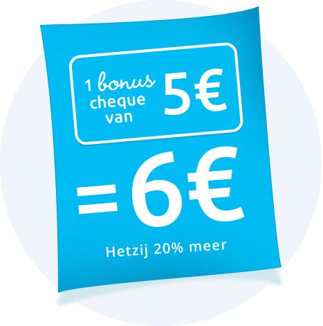 1 chèque bonus de 5€ = 6€ Soit 20% de réduction