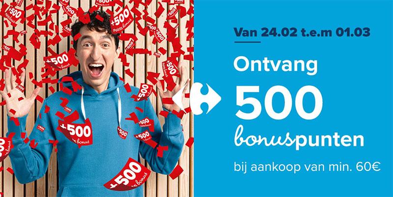 500€ Bonuspunten vanaf 60€ aankopen!