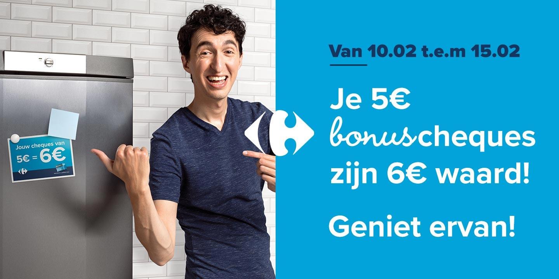Je 5€ Bonuscheques zijn 6€ waard!
