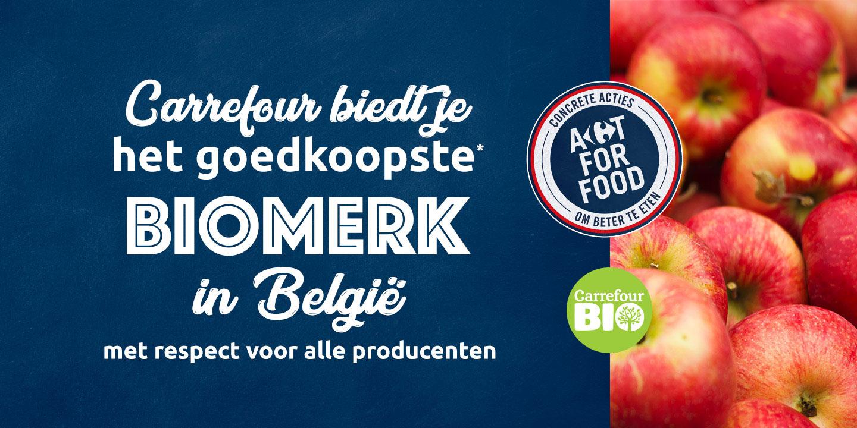 Carrefour biedt je het goedkoopste* biomerk in België met respect voor alle producenten