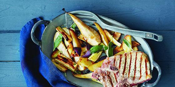 Porc aux panais et poires grillées