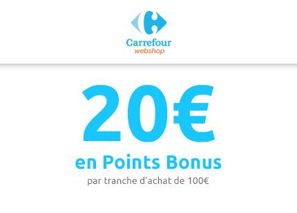 20€ de réduction par tranche d'achat de 100€