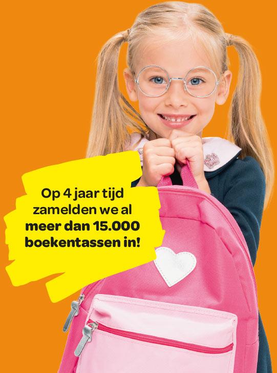 Op 4 jarr tijd zamelden we al meer dan 15.000 boekentassen in!